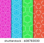 set of seamless pattern.... | Shutterstock .eps vector #608783030