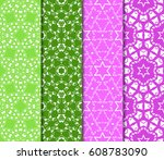 set of 4 decorative line... | Shutterstock .eps vector #608783090