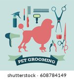 pet grooming icons set.... | Shutterstock .eps vector #608784149