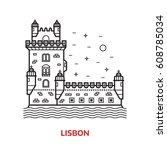 travel lisbon landmark icon.... | Shutterstock .eps vector #608785034