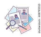 flat line design illustration... | Shutterstock .eps vector #608785310