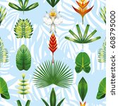 seamless pattern composition of ... | Shutterstock .eps vector #608795000