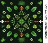symmetrical geometric circular... | Shutterstock .eps vector #608795264