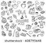 big collection of doodle tae... | Shutterstock . vector #608795648