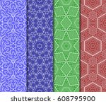 set of seamless pattern.... | Shutterstock .eps vector #608795900