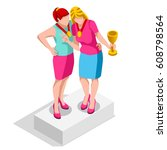 isometric people isolated... | Shutterstock .eps vector #608798564
