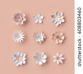 3d render  abstract paper... | Shutterstock . vector #608803460