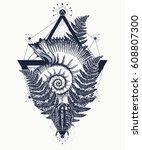nautilus shell prehistoric... | Shutterstock .eps vector #608807300