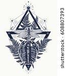 prehistoric tattoo art. ... | Shutterstock .eps vector #608807393