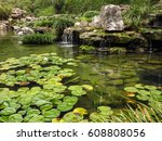 Japanese Garden With A Pond An...