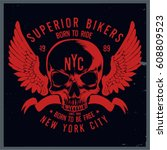 vintage biker graphics and... | Shutterstock .eps vector #608809523