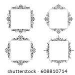 vintage baroque swirl frame...   Shutterstock .eps vector #608810714