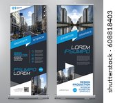 business roll up. standee... | Shutterstock .eps vector #608818403