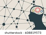 silhouette of a man's head with ... | Shutterstock .eps vector #608819573