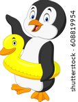 Cartoon Penguin With Inflatabl...