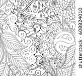 tracery seamless pattern.... | Shutterstock .eps vector #608824010