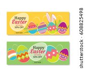 easter sale banner template... | Shutterstock .eps vector #608825498