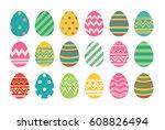 Set Of Easter Eggs Flat Design...