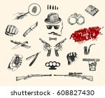 mafia and gangster set. hand... | Shutterstock .eps vector #608827430