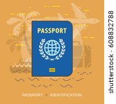 flat illustration of passport... | Shutterstock .eps vector #608832788