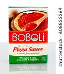 Small photo of West Palm Beach, FL - March 25, 2017: A box of Boboli pizza sauce packets. The Boboli brand is part of the Bimbo Bakeries USA family