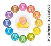 vitamins icons. rainbow color... | Shutterstock .eps vector #608835038