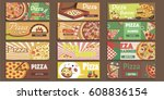 pizza banners set | Shutterstock .eps vector #608836154