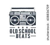 hand drawn 90s themed badge... | Shutterstock .eps vector #608836709