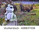 Frog Statue In The Garden.