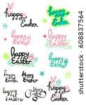 happy easter | Shutterstock .eps vector #608837564