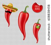 hot chilli pepper big set with... | Shutterstock .eps vector #608838458