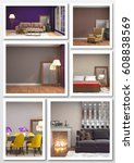 collage of modern home interior.... | Shutterstock . vector #608838569