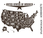 map of united states of america | Shutterstock .eps vector #608840870