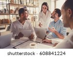successful young business... | Shutterstock . vector #608841224