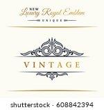 calligraphic luxury line logo.... | Shutterstock .eps vector #608842394