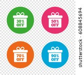 sale gift box tag icons.... | Shutterstock .eps vector #608845694