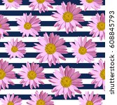 seamless pattern with pink... | Shutterstock .eps vector #608845793
