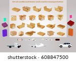 set of cardboard boxes and... | Shutterstock .eps vector #608847500