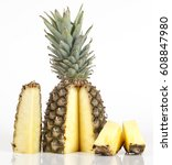 pineapple with slices on white... | Shutterstock . vector #608847980
