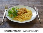 pasta with meat on a plate with ... | Shutterstock . vector #608848004