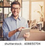 handsome businessman in... | Shutterstock . vector #608850704