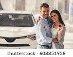 visiting car dealership.... | Shutterstock . vector #608851928