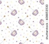 bottle of purple water with... | Shutterstock .eps vector #608853530