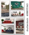 collage of modern home interior.... | Shutterstock . vector #608855363