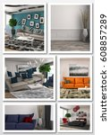 collage of modern home interior.... | Shutterstock . vector #608857289
