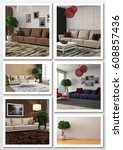 collage of modern home interior.... | Shutterstock . vector #608857436