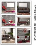 collage of modern home interior.... | Shutterstock . vector #608858123
