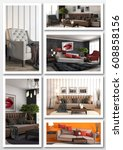 collage of modern home interior.... | Shutterstock . vector #608858156