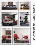 collage of modern home interior.... | Shutterstock . vector #608858246