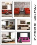collage of modern home interior.... | Shutterstock . vector #608859320